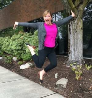 Recruiter Mary Kochiss is so excited about Ashley's success, she couldn't help jumping for joy!