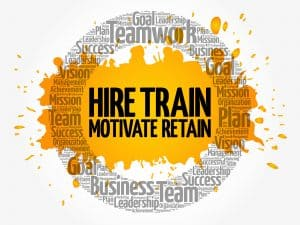 Word cloud advising on how to hire, train, motivate, and retain millennial employees