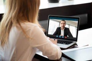 woman having a virtual job interview
