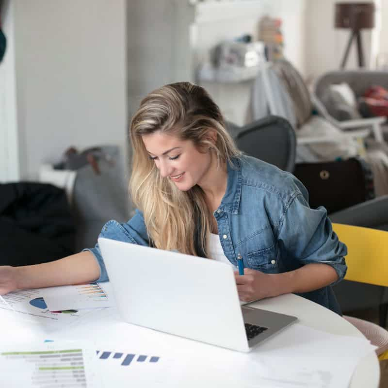 Image of woman working from home