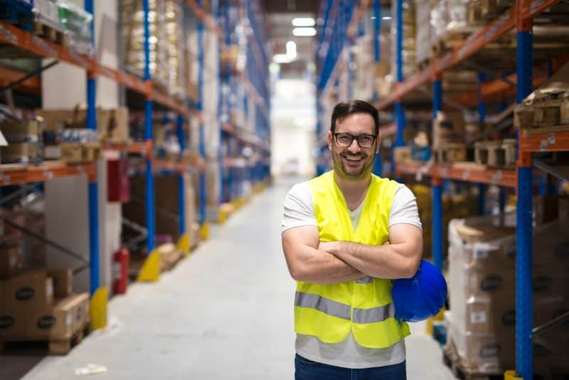Smiling warehouse worker