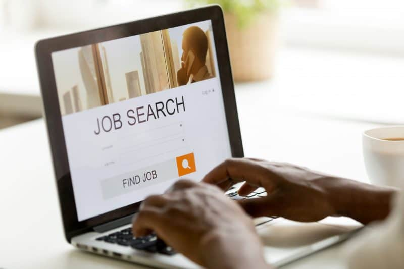 Person performing job search online