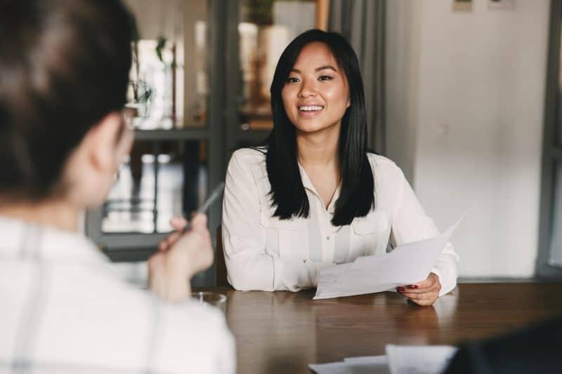 Talent champion interviewing job applicant